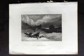 Payne 1847 Antique Print. Mt. St. Bernard, Switzerland